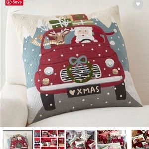 PB road trip Santa embroidered pillow cover